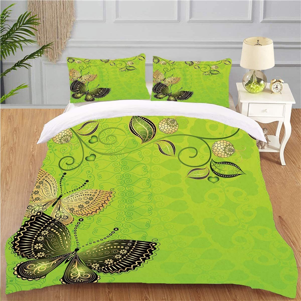 Bedding Personality 3 Piece Duvet Cover Set Green Floral Spring Theme Vintage Style Butterflies Abstract Composition Apple Green Gold Black Soft Breathable Home Warm Duvet Comforter Cover,FULL