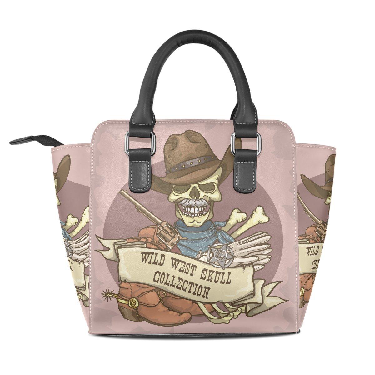 Women Handbag Genuine Leather West Skull Purse Shoulder Tote Bag Satchel