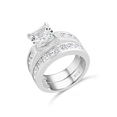 Amazoncom Sterling Silver Princess Cut Cubic Zirconia Engagement