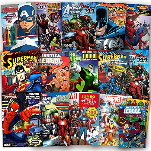 Super Heroes Coloring Books - Superhero Ultimate Coloring Book Assortment ~ 15 Books Featuring Avengers, Spiderman, Justice League, Batman and More (Includes Stickers)
