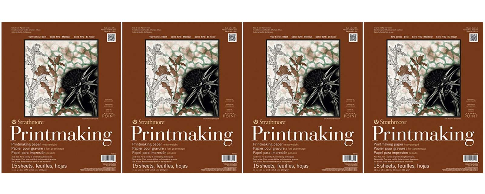 Strathmore ((433-11 400 Series Printmaking Pad, Heavyweight, 11''x14'', 15 Sheets (Fоur Paсk) by Strathmore