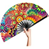 OMyTea Large Bamboo Rave Festival Folding Hand Fan for Men/Women - Chinese Japanese Handheld Fan with Fabric Case - for…