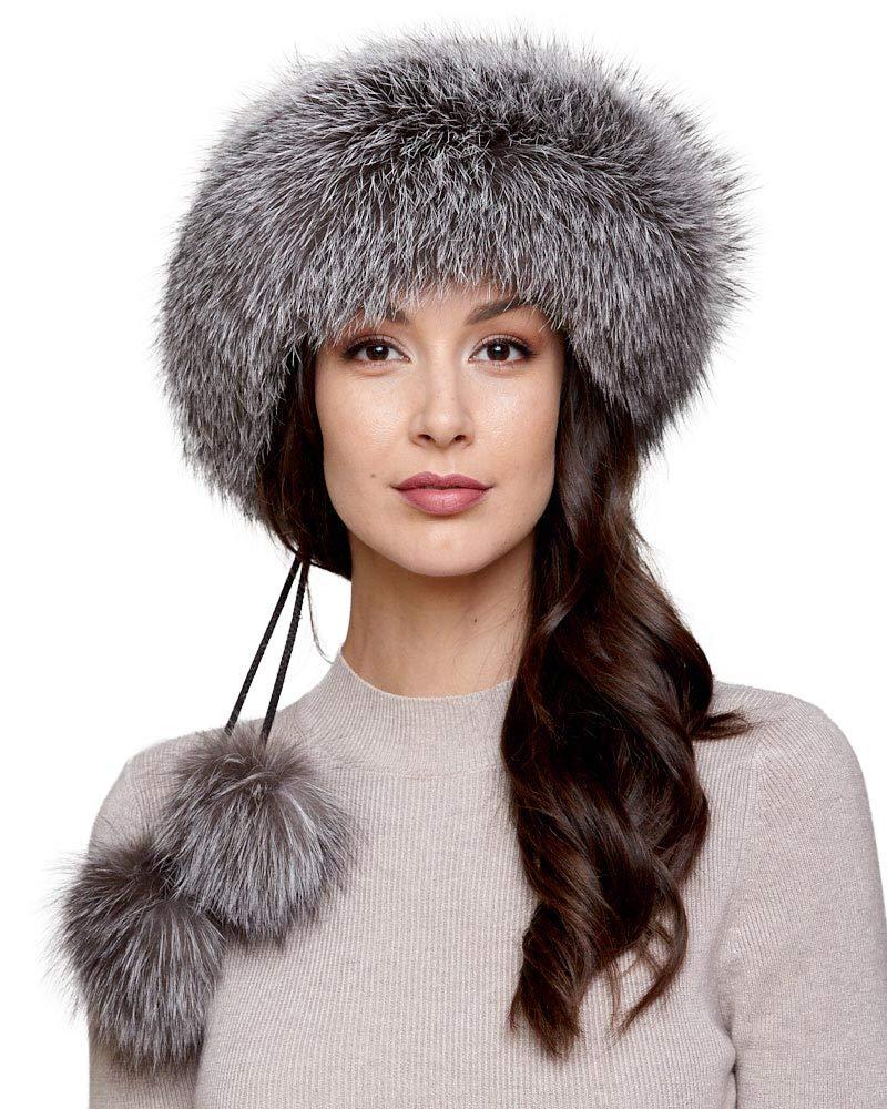 Silver Indigo Fox Fur Headband with Pom Poms