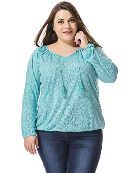 Allegra K Mujer Talla Grande Forma Geométrica con Borlas Corbatas Campesina Blusa - Sintético, Azul