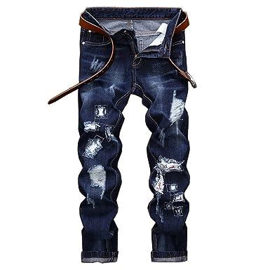 25ff41124a72 CHFYI Männer Mittlere Taille Gerade Bestickte Jeans Mode Zerrissene Jeans  Ohne Gürtel,Blue-28