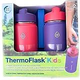 Thermoflask Botella de pajita de acero inoxidable para niños, de 396 ml, 2 unidades, berenjena