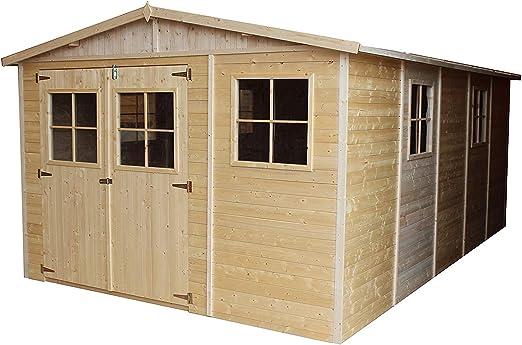 TIMBELA M337 Caseta de jardín de madera para exterior - Caseta de pino / abeto, construcción de paneles - Al 226 x 516 x 324 cm / 15 m2: Amazon.es: Jardín