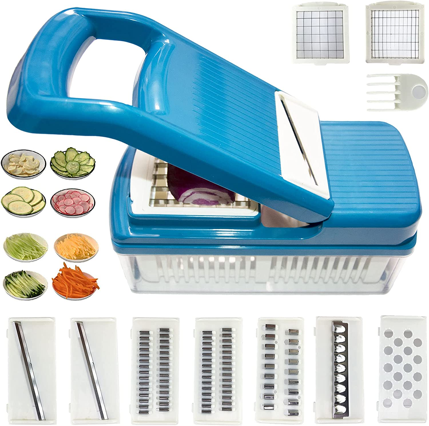 Manual Food Processors,12 in 1 Multi-Function Vegetable Cutter and Food Chopper,with9 Replaceable Stainless Steel blades for Onion Potato Tomato Fruit Ideal Gift for Home Kitchen