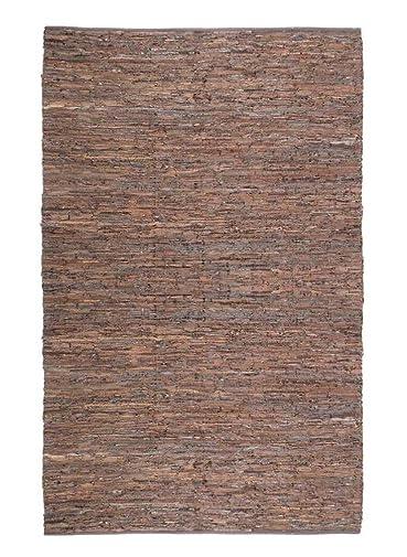 Matador Leather Chindi Handmade Rug, 5 by 8-Feet, Brown