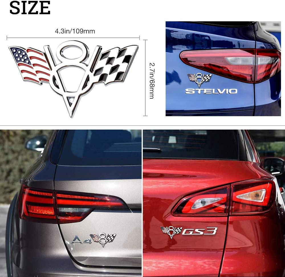 1797 Car Stickers Decals Accessories V8 US USA America Flag Stars Stripes F1 Racing Vehicle Decorations Emblem Bumper Trunk Tailgate Metal Aluminum Alloy Cute Funny Cool Silver White Red Blue Black