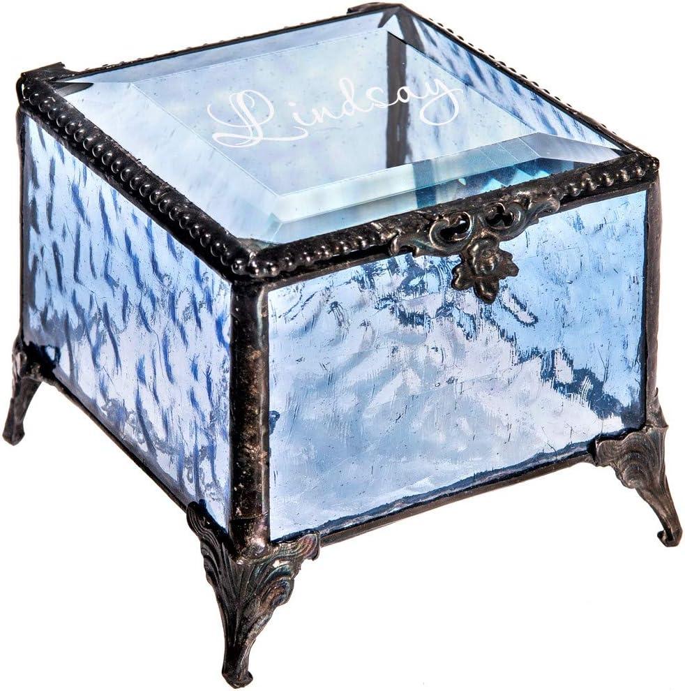 Personalized Blue Glass Box Decorative Vanity Display Case Storage Jewelry Organizer Keepsake Gift for Her Girl Women Vintage Decor J Devlin Ellen Box 837 EB245