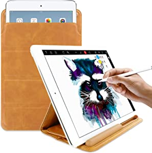 KHOMO iPad 9.7/10.5 Inch Tri-Fold Sleeve Case with Apple Pencil Holder - Brown