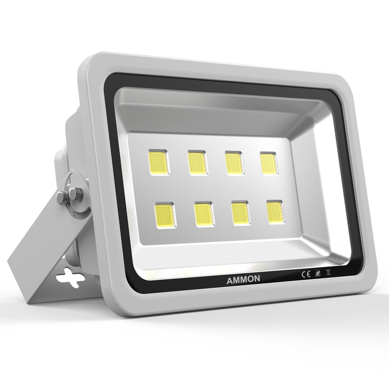 AMMON LED Flood Light 400W High Power Spotlight Cool White Waterproof IP65 Outdoor Security Lighting Wall Garden Projector Billboard Lamp AC85-265V 400Watt Silver