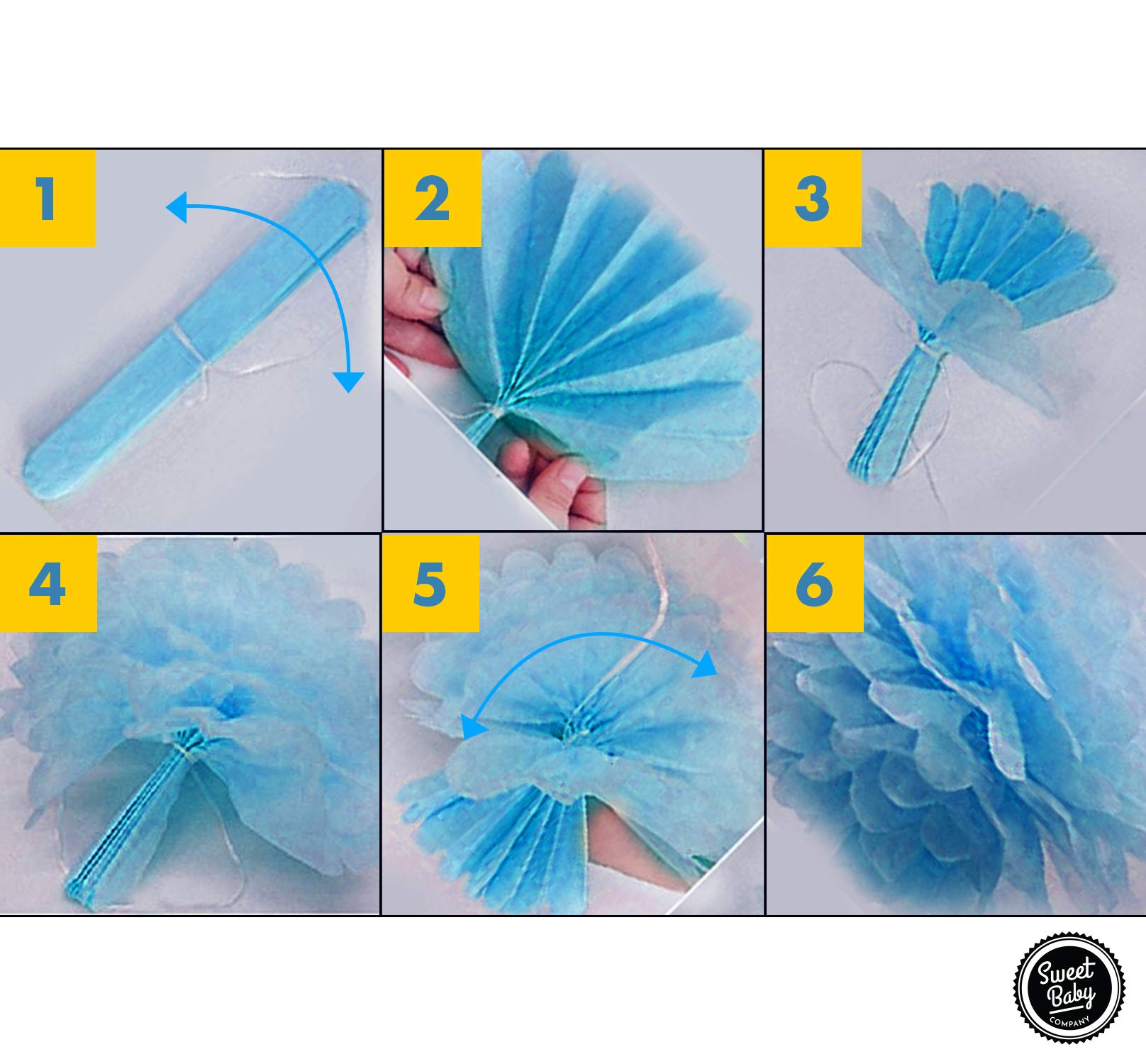Sweet Baby Co. Baby Shower Decorations For Boy With It's A Boy Banner, Paper Lanterns, Honeycomb Balls, Paper Tissue Pom Poms, Confetti Balloons, Silver Balloon Ribbon (Baby Blue, True Blue, Grey and White)   Baby Shower Decorations Set by Sweet Baby Company (Image #6)
