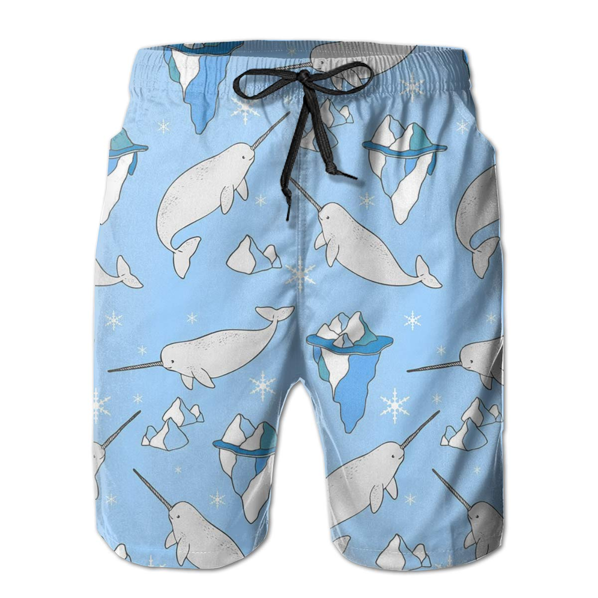 FASUWAVE Mens Swim Trunks Narwhals and Icebergs Quick Dry Beach Board Shorts with Mesh Lining