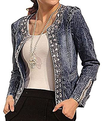 f95bc9583a3 US R Women s Rhinestone Decoration Retro Denim Jacket Sequins Short Blazer  at Amazon Women s Coats Shop
