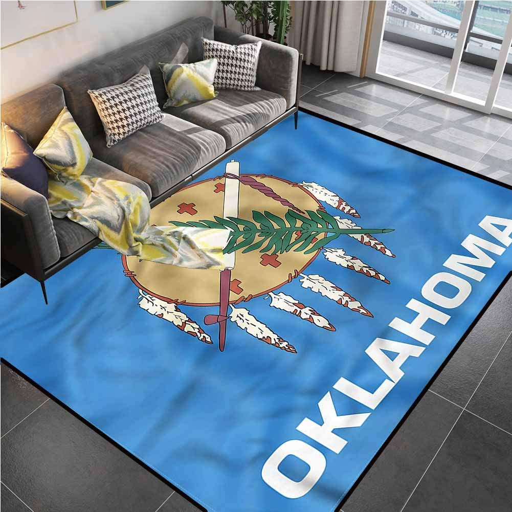 Area Rugs Print Large Carpet American,Native Americans Oklahoma Office Chair mat for Carpet for Living Dining Dorm Playing Room Bedroom 5'x8'