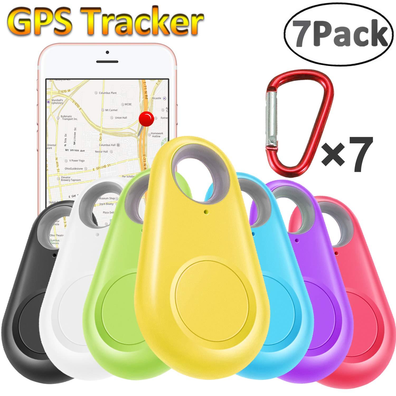 GBD 7 Pack GPS Tracker Smart Key Finder Locator with Bluetooth for Kids Boys Girls Pets Keys Wallet Keychain Car Dog Cat Child Bag Phone Alarm Anti Lost Selfie Shutter Wireless Seeker Birthday School