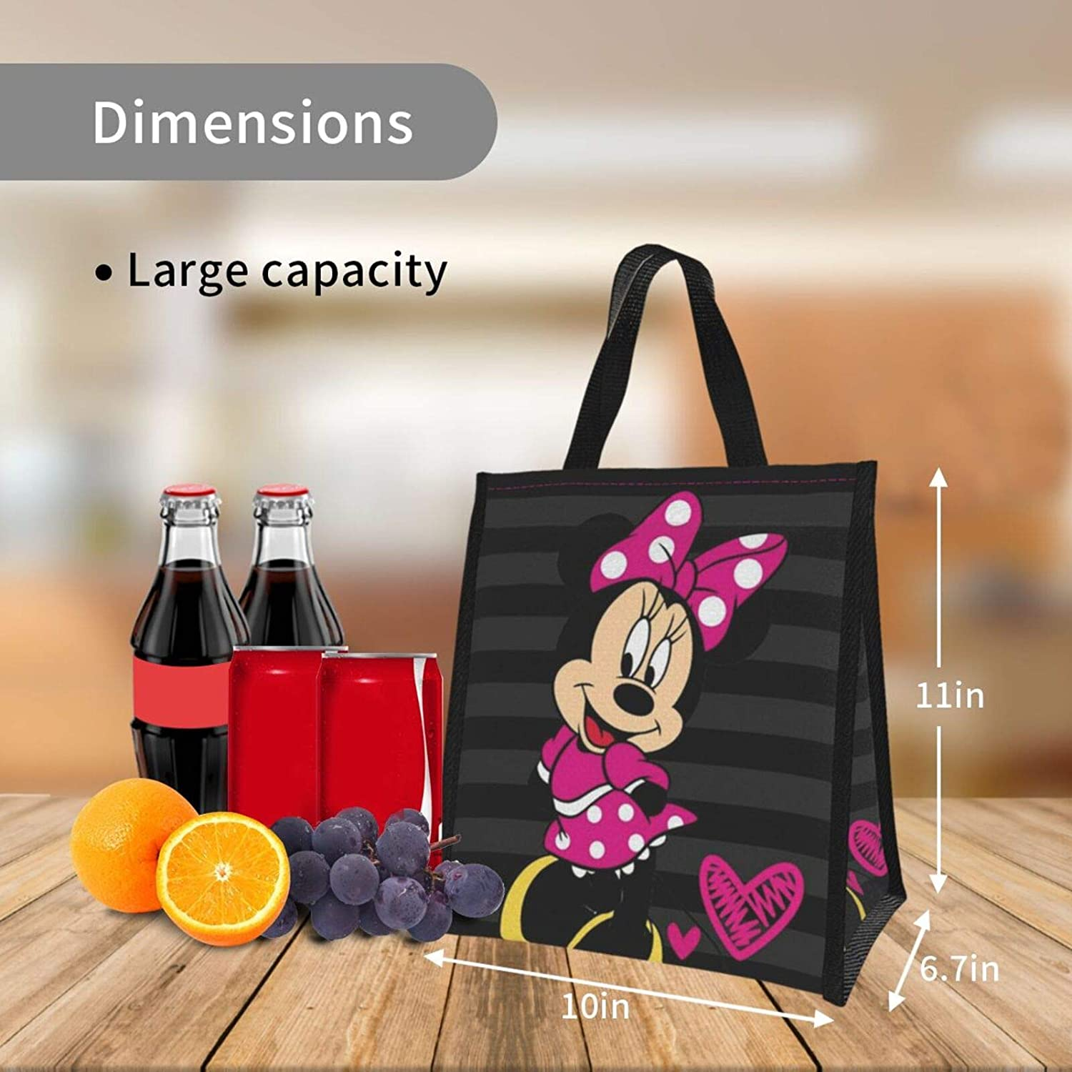 Suguroo Happy Mickey Mouse Reusable Lunch Bag Insulated Lunch Box Lunch Tote Handbag for Women,Men,School Office
