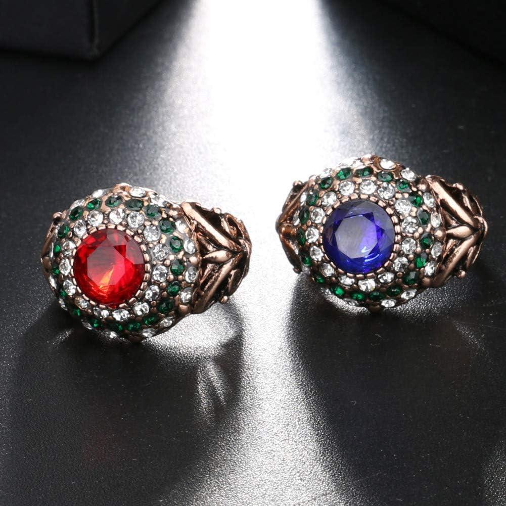 CTDMMJ Anillo de Diamantes de rubí Dorado para Mujer Anillo de Bodas de rubí de Piedras Preciosas de ágata Jade con Caja de joyería