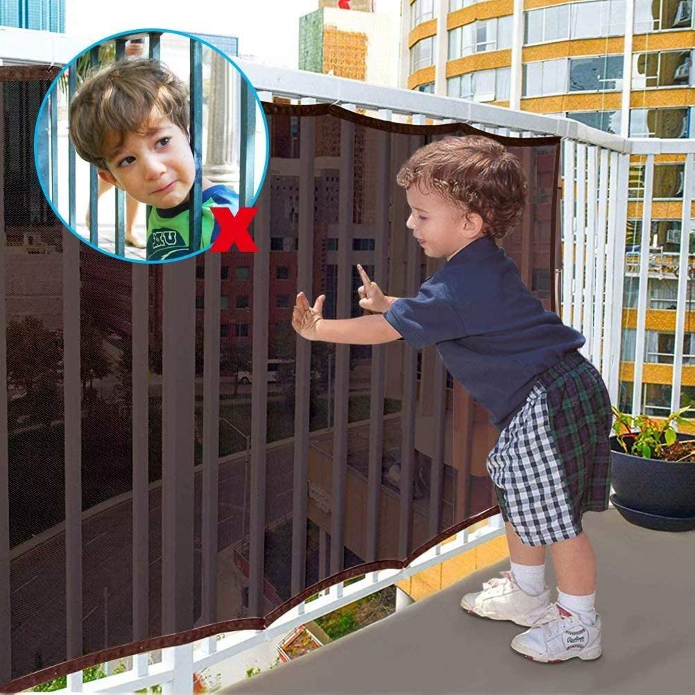 Barandilla Escalera Red de Seguridad 3m+2m Red de Seguridad para Balcones y Escaleras de para Interiores y Exteriores,Red de Seguridad para Barandillas para Niños/Mascotas/Juguetes de Seguridad