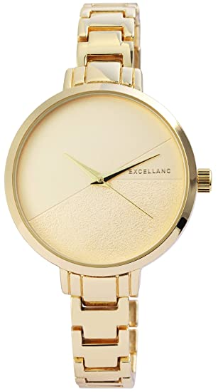 Excellanc llanc Mujer Reloj Oro Analógica Metal Cuarzo Reloj de Pulsera: Amazon.es: Relojes