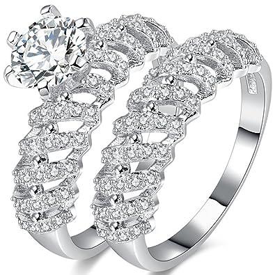 Amazon Com Temego 14k White Gold Aaa Cubic Zirconia Vintage Bridal