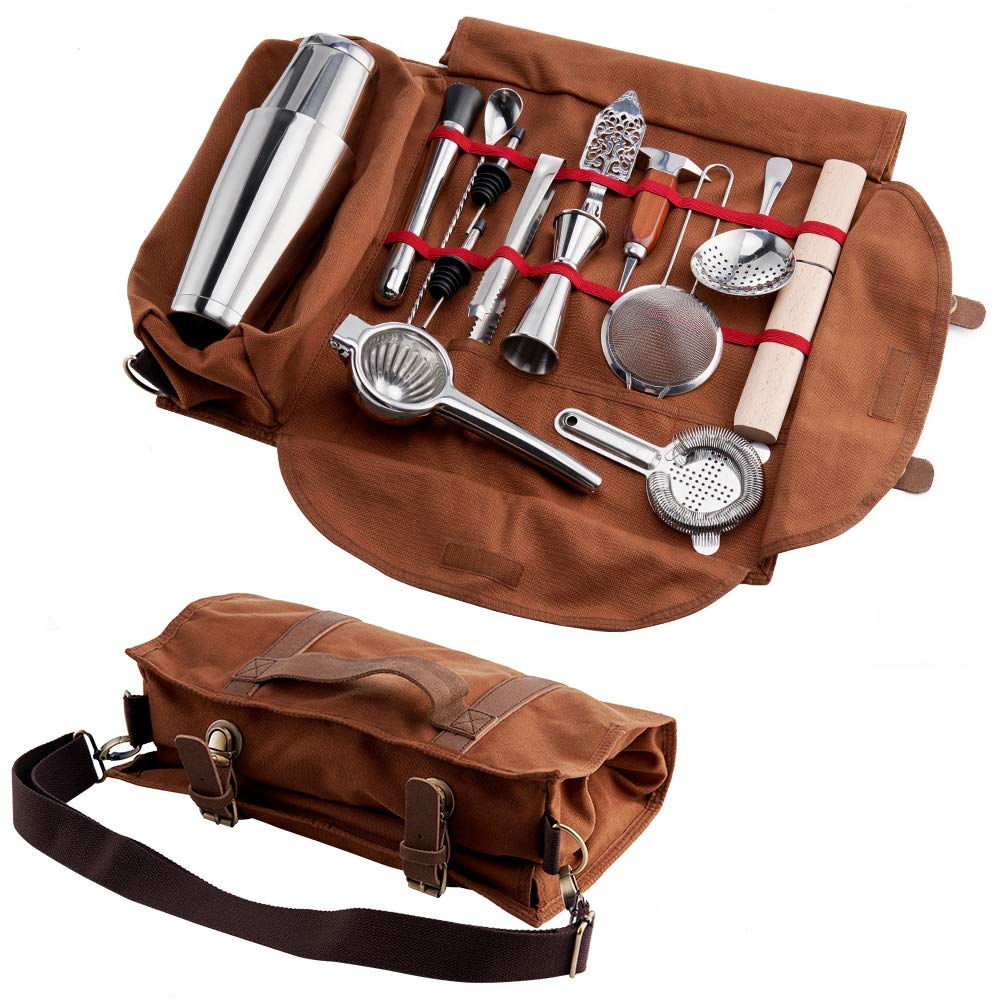 Finneshoky Cocktail Tool Set Bartender Kit Portable Tote Bag ,14 Piece Bar Tool Set Fully Padded ,Easy to carry to the Picnic and Travel