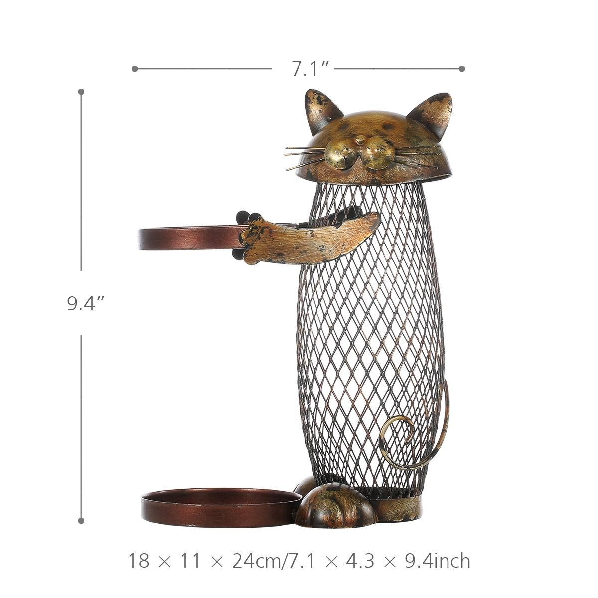 Tooarts Cat Wine Holder Cork Metal Wine Barrel Cork Storage Cage Table Cork Container Ornament by Tooarts (Image #5)