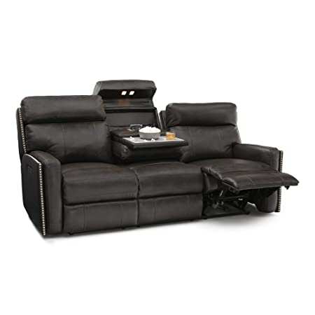 Seatcraft 72-110E-71179859 Lombardo Leather Home Theater Seating Sofa, Power Recline with Adjustable Powered Headrests and Fold Down Table, Grey
