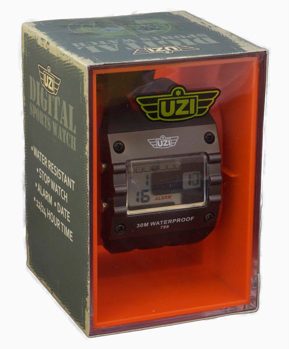 UZI UZI-W-799 UZI Digital Sports Series Watch with Black Rubber Strap
