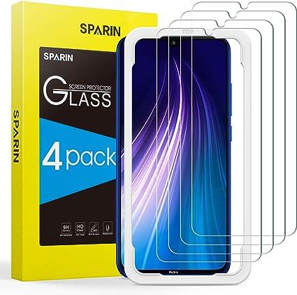 SPARIN Protector de Pantalla Compatible con Xiaomi Redmi Note 7 / Note 8, Cristal Templado con Marco de Alineación, Alta Definición, 4 Piezas: Amazon.es: Electrónica