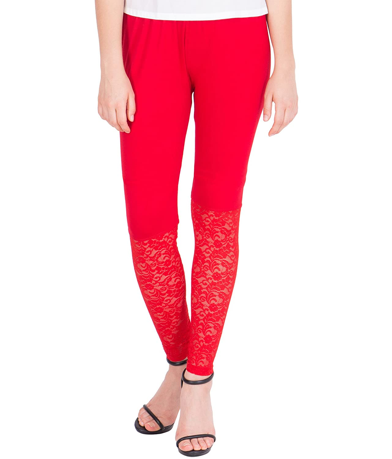 a26c2a8269c85 American-Elm Women's Ankle length Designer Lace Legging- Red: Amazon.in:  Clothing & Accessories