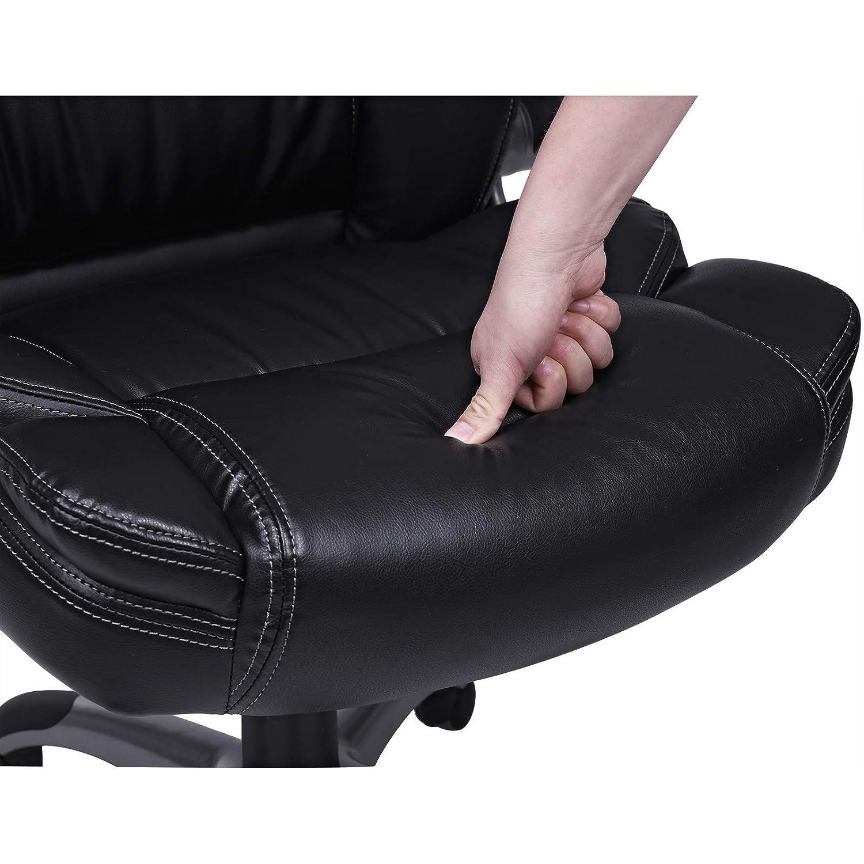 doppelt verdicktes Polster SONGMICS B/ürostuhl Drehstuhl schwarz Chefsessel klappbare Armlehnen hohe R/ückenlehne Bezug aus PU Leder OBG94BK mit Wippfunktion breite Sitzschale mit Federkern