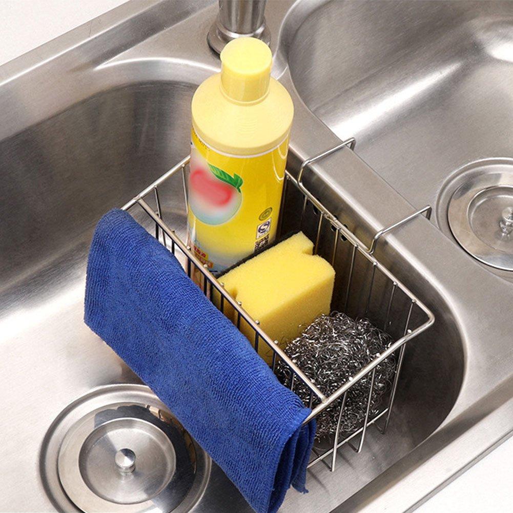 Kitchen Sponge Holder Sink Caddy Organizer Drainer Stainless Steel Rack Kitchen Tools