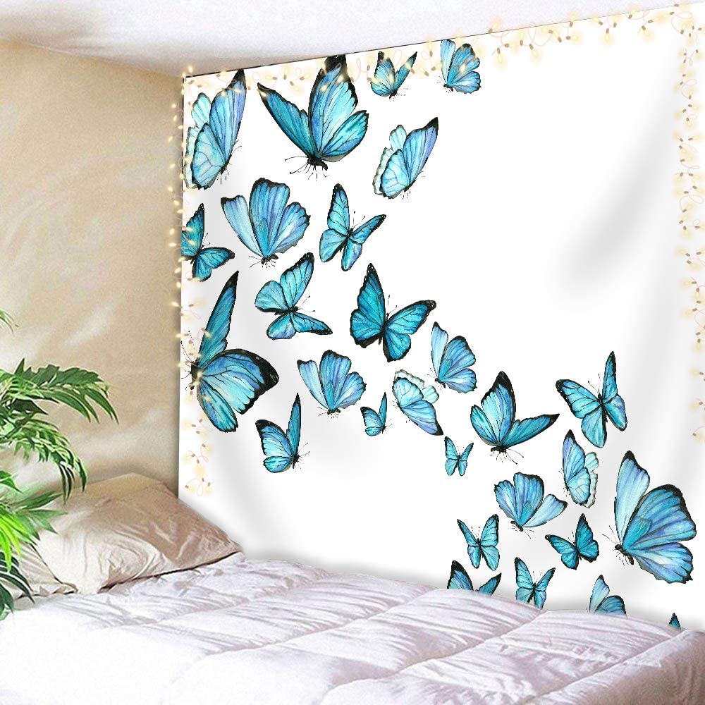 AMBZEK Watercolor Blue Butterfly Tapestry 78Hx59W Inch Flying On White Background Unique Woman Girl Modern Art Wall Hanging Bedroom Living Room Dorm Decor Fabric