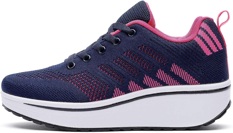 WUIWUIYU Femmes Baskets Compens/ées Chaussures de Sport /à Lacets Sneakers