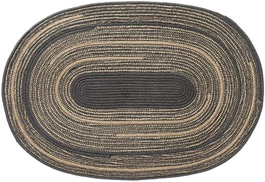 Alfombra rústica Oval Trenzada Azul de Yute y algodón de 90x60 cm - LOLAhome: Amazon.es: Hogar