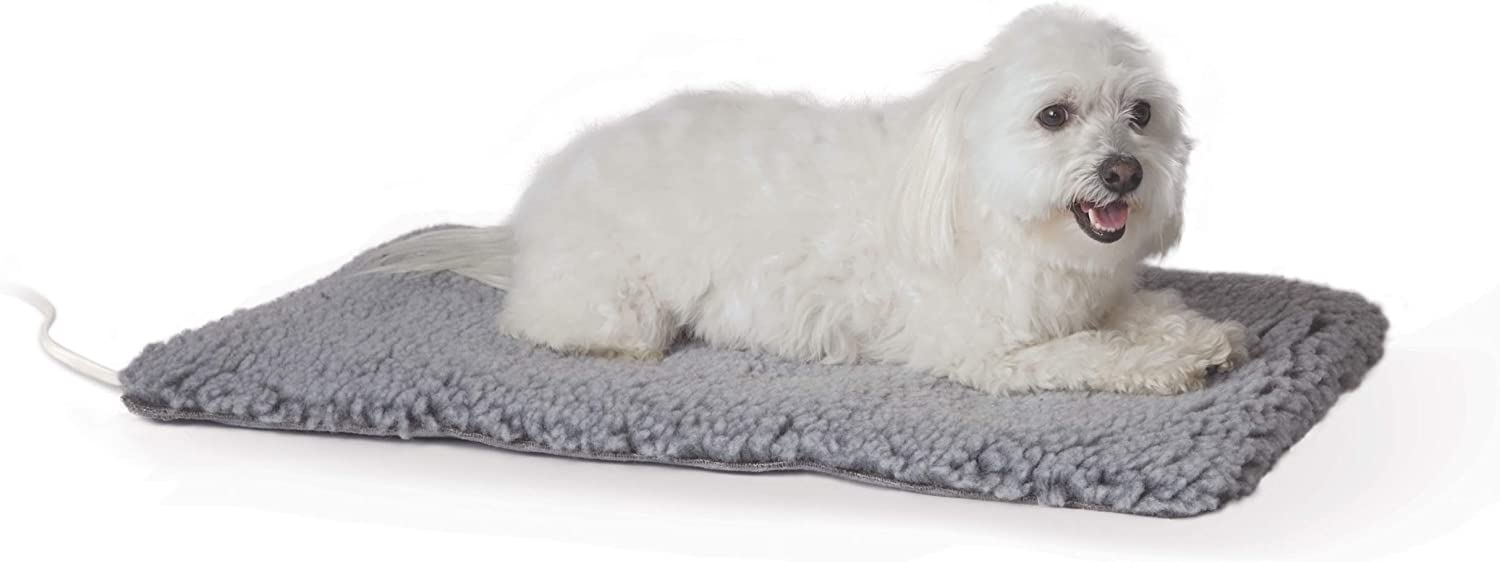 K&H PET PRODUCTS Thermo-Plush Pad Indoor Heated Pet Bed for Dogs & Cats, Gray, Medium 17.5in x 28in, 22W