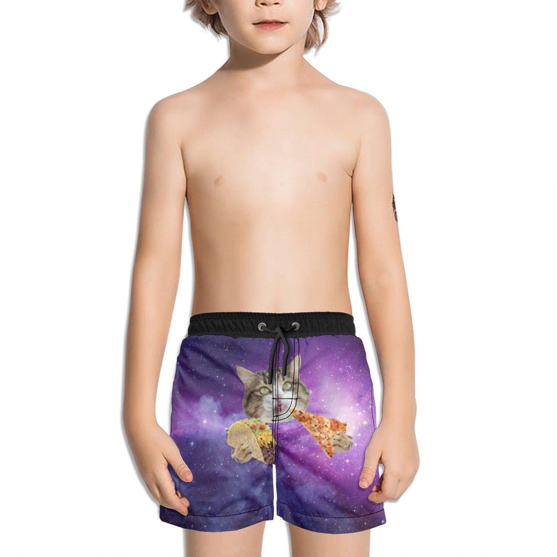 Trum Namii Boys Quick Dry Swim Trunks Space Galaxy Taco Cat Pizza Shorts
