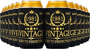 Crisky Vintage 1981 Can Coolers 40th Birthday Beer Sleeve Party Favor 40th Birthday Decoarions Black and Gold, Can Insulated Covers Neoprene Coolers for Soda, Beer, Beverage 12 pcs