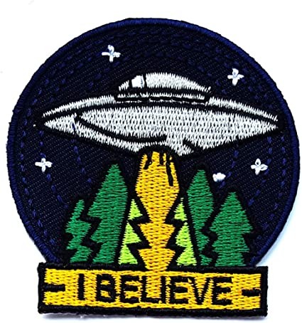 Flying Saucer Patch Iron Sew On Alien Spaceship UFO NASA Space Embroidered Badge