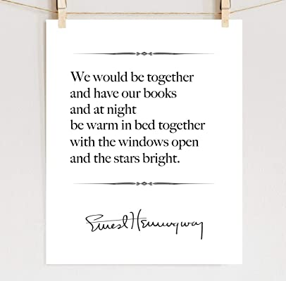 Ernest Hemingway Print, Love Quote, 1st Anniversary Gift Paper 2nd Cotton **Unframed**