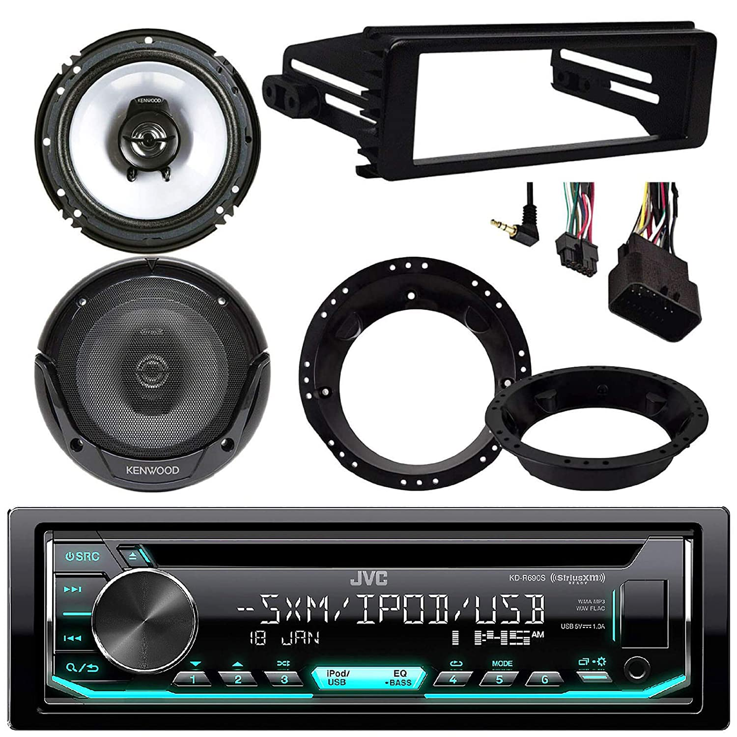 JVC KDR490 CD Stereo Audio Receiver Radio Dash Kit for 1998-2013 Harley Motorcycle Bikes Bundle Combo with 2X Kenwood 6.5 Inch Black Coaxial Speakers W//Adapter Brackets