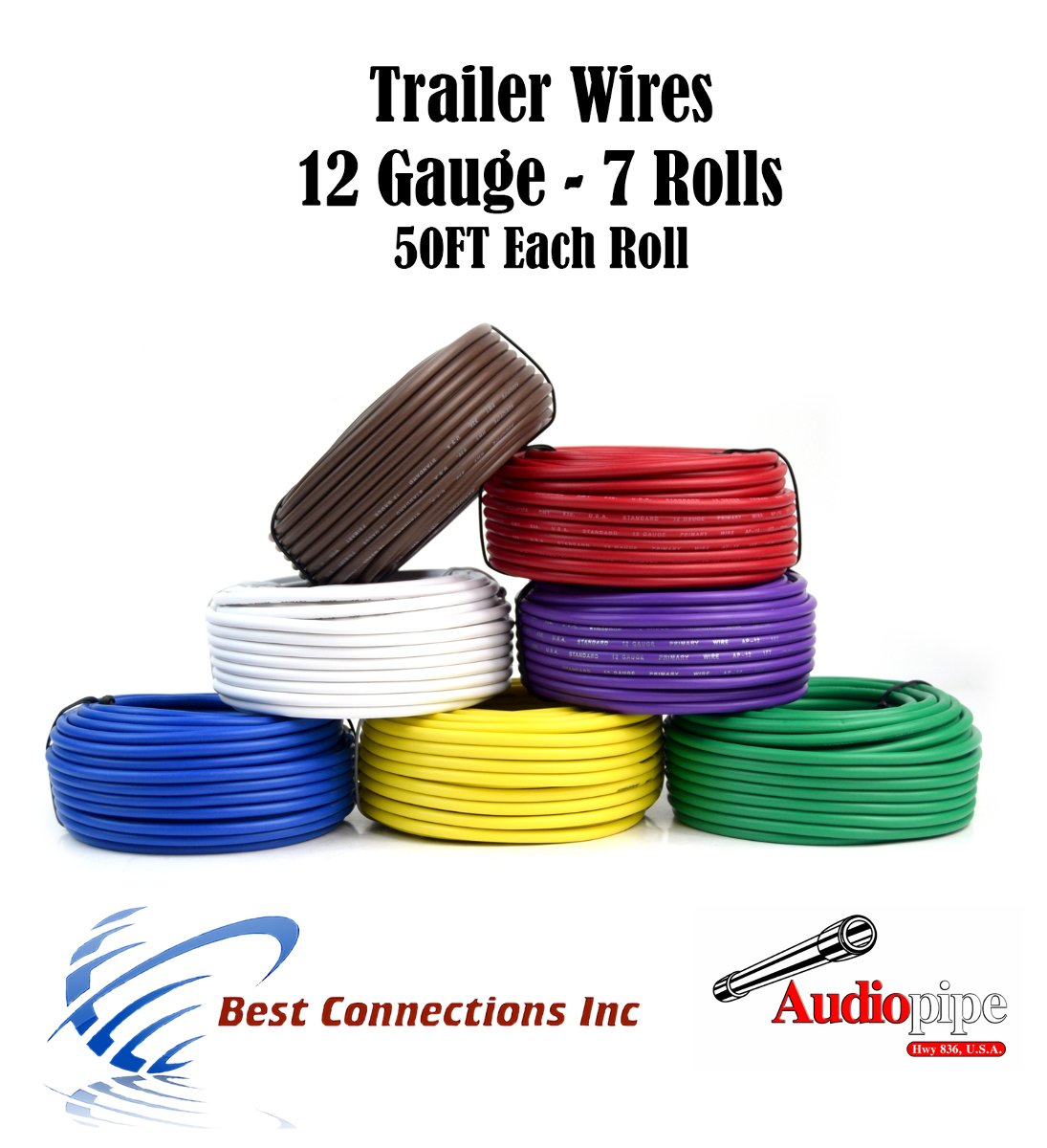 7 Way Trailer Wire Light Cable for Harness 50 FT Each Roll 12 Gauge 7 Colors by Audiopipe