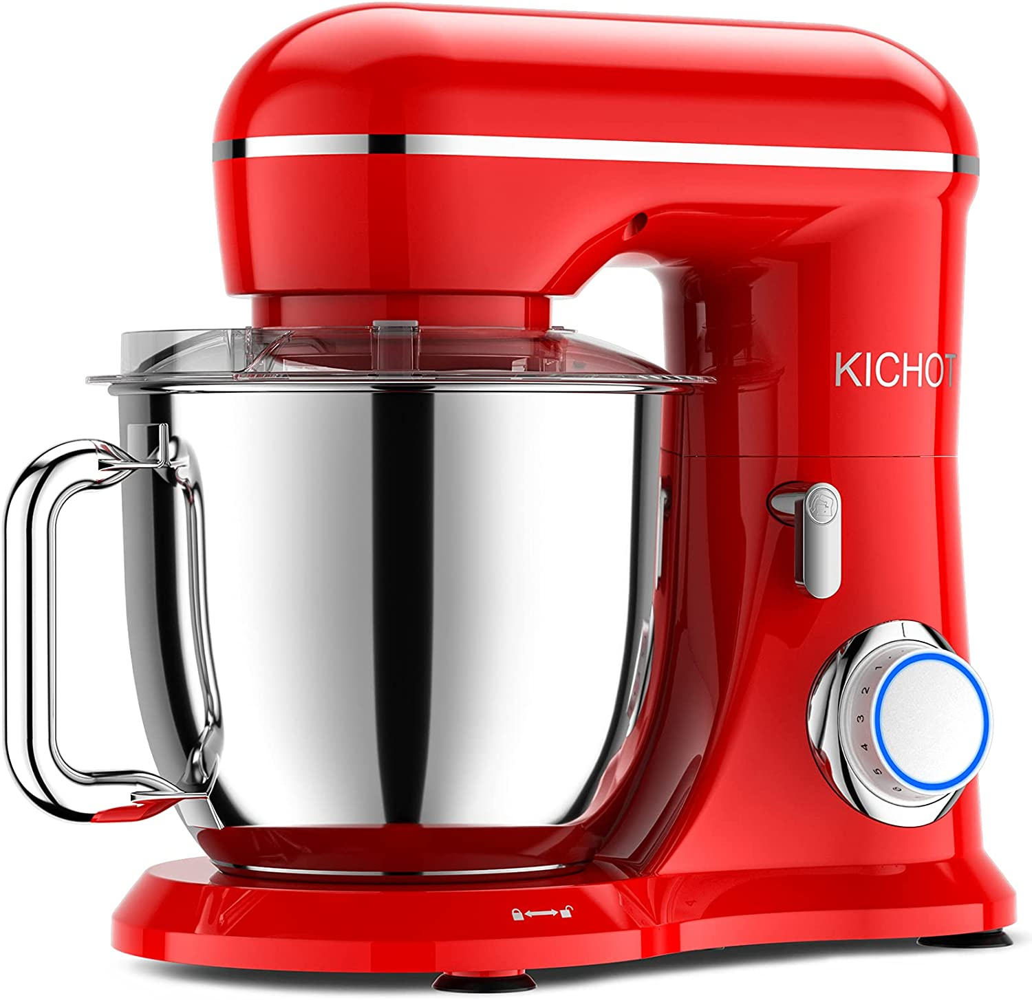 KICHOT Stand Mixer, 10-Speed Tilt Head Electric Food Mixer, 4.8QT Kitchen Mixer with Dough Hook, Flat Beater, Wire Whisk and Splash Guard (Red)