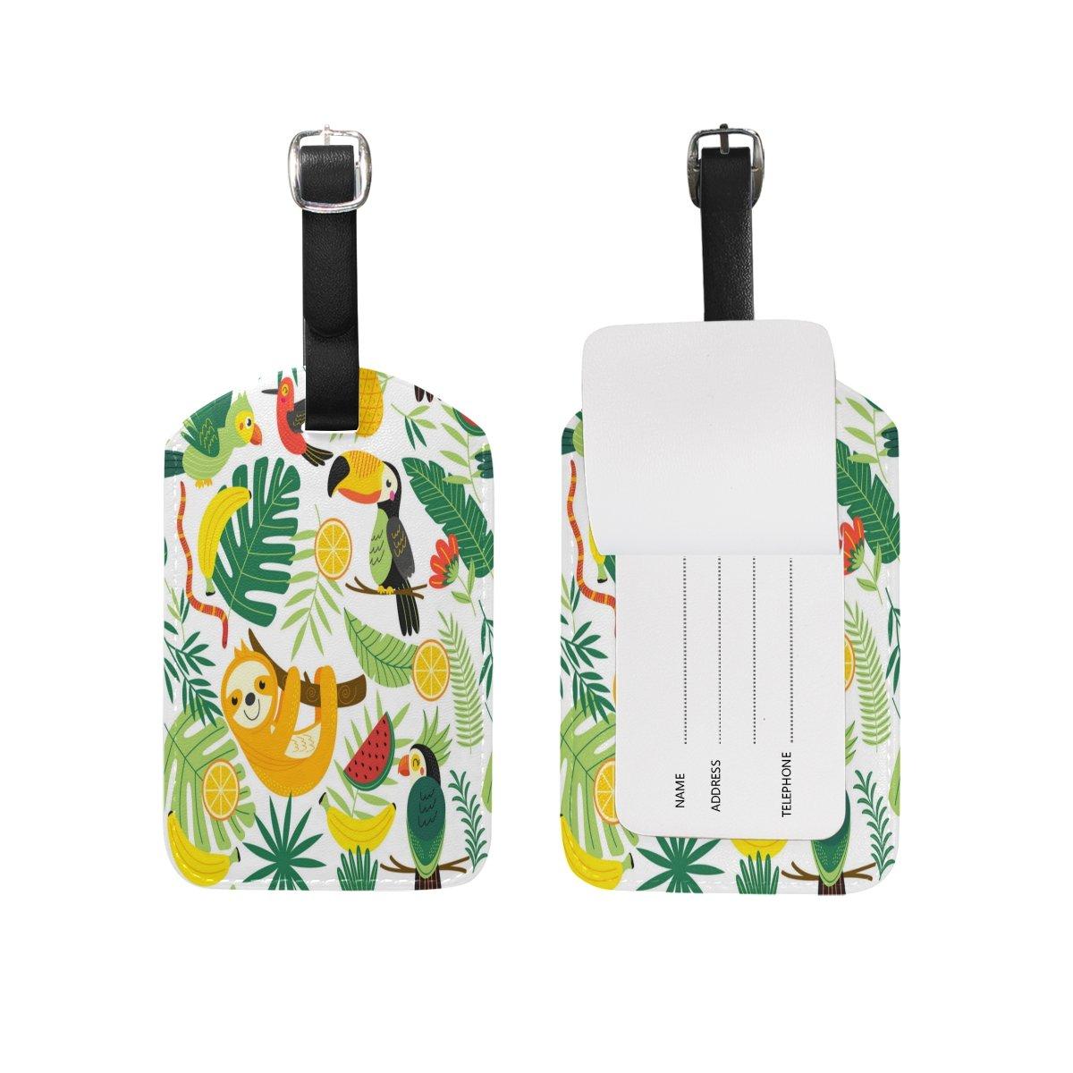 1Pcs Saobao Travel Luggage Tag Tropical Animals Sloth PU Leather Baggage Suitcase Travel ID Bag Tag