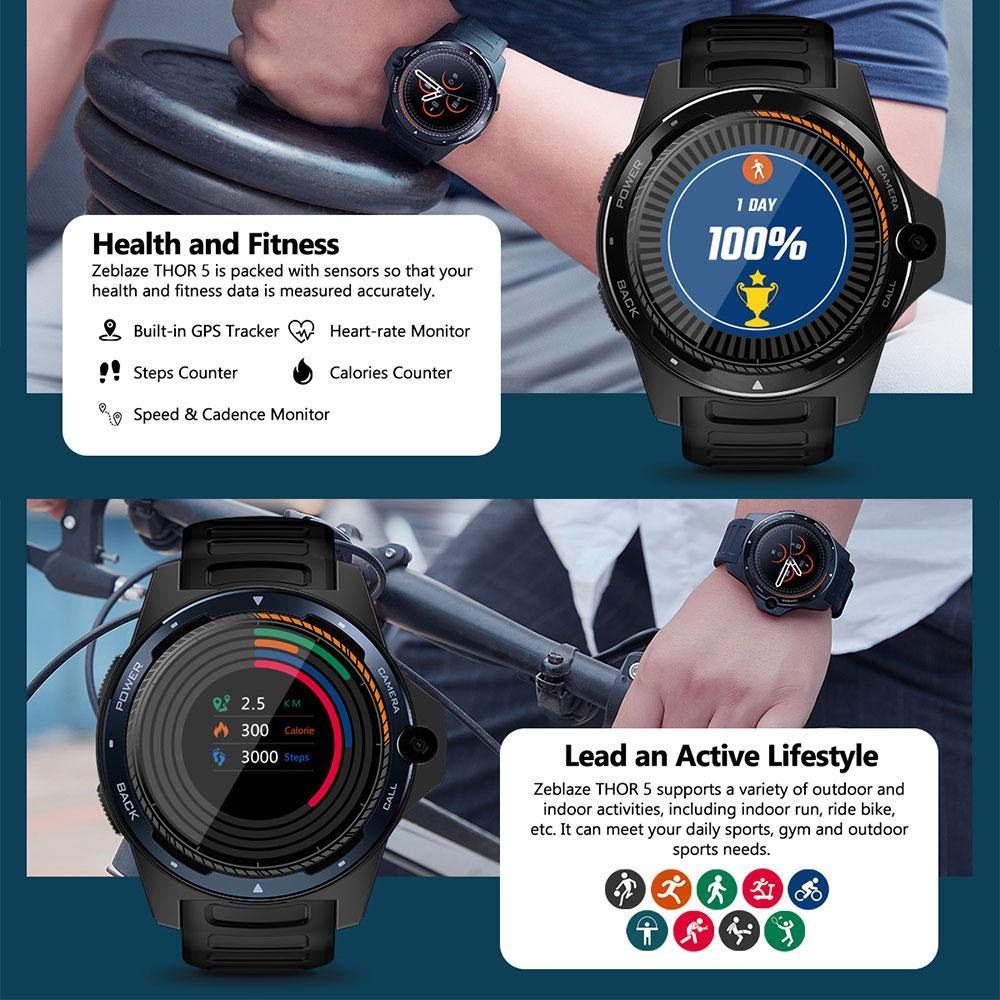 Lesgos Nuevo Zeblaze Thor 5 Dual SmartWatch, Zeblaze Thor Dual Systems 4G Smartphone Android teléfono 8MP 3GB + 32GB 800MHz batería Impermeable ...