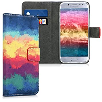 kwmobile Funda compatible con Samsung Galaxy J5 (2017) DUOS - Carcasa de cuero sintético con diseño impresionista - Con tarjetero
