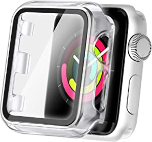 Secbolt 38mm Case Compatible Apple Watch Series 1 Series 2 Series 3 with Built in Tempered Glass Screen Protector- All Around Protective Case for Apple Watch Series 3/2/1 38mm (Clear)